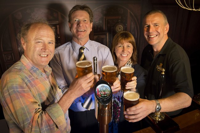 Pictured left to right at the launch of Eden Pale Ale are Eden Project co-founder, Sir Tim Smit, St Austell Brewery managing director, James Staughton, Eden project executive director, Gayle Coley,and St Austell Brewery head brewer, Roger Ryman