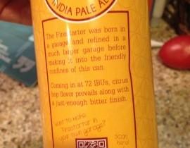 Bonfire Brewery Firestarter India Pale Ale QR Code Label